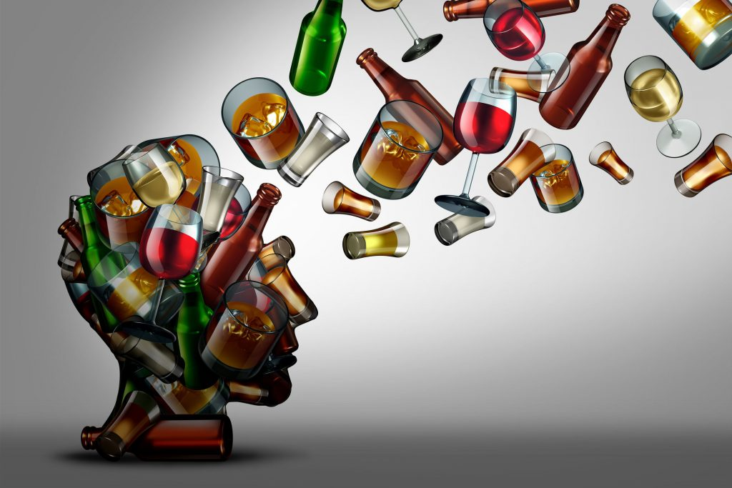 drink awareness, an illustration of bottles and glasses of alcohol making up a persons head
